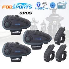 3 шт. V8 мотоциклов bluetooth шлем интерком-гарнитура bt переговорные с NFC FM пульт дистанционного управления поддержка 5 всадников говорить