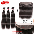 13x4 Lace Frontal With 3 Bundles Straight No Tangled Top Grade 6A Mink Brazilian Virgin Hair straight With Lace Frontal