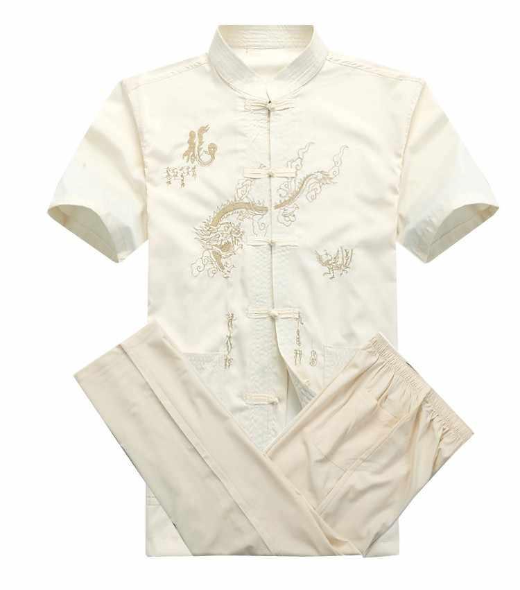 新しい中国男性綿カンフースーツ刺繍ウーshu制服太極拳服半袖シャツ+パンツml xl xxl xxxl