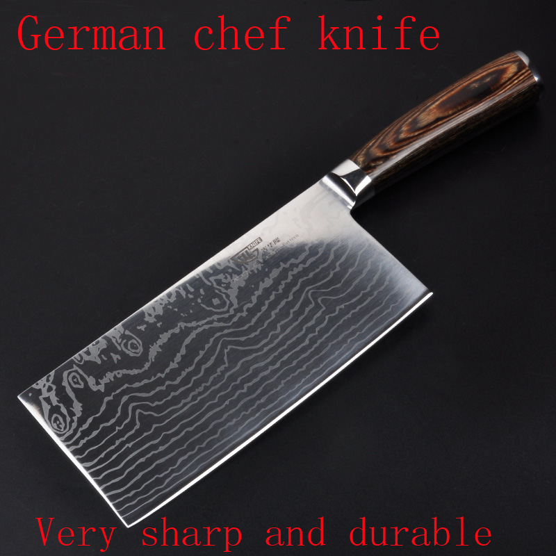 Well NEW  damascus font b knife b font professional cleaver chopper kitchen stainless steel metal