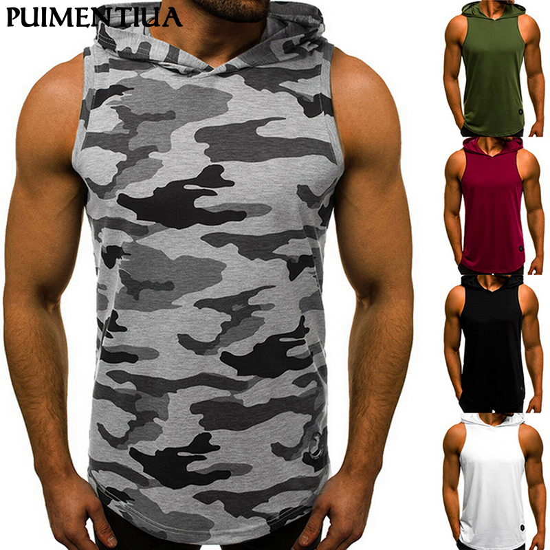 Puimentiua Men Summer Hooded Sleeveless Vest Male Casual Slim Fit Breathable Sports Fitness Pullover Top Loose Breathable Vest