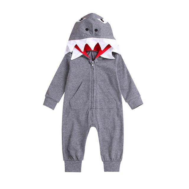 35c0d3f96baa Aliexpress.com   Buy 2018 Little Prince Shark Hooded Jumpsuit Infant ...