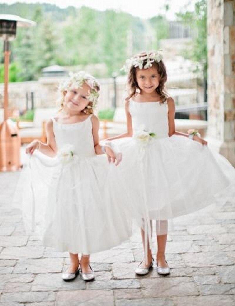 2016 Lovely Cute   Girls     Dress   Scoop Sleeveless Ball Gown Floor Length Ruffle Organza   Flower     Girls     Dresses   Sash   Girl   Party Gown