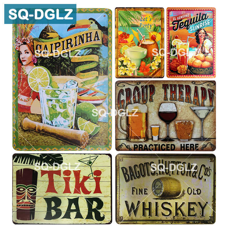 [SQ-DGLZ] Placa de CAIPIRINHA Tequila UÍSQUE DO NASCER DO SOL Wall Decor Tiki Bar Sinal Da Lata Do Vintage do Metal Sinal de TERAPIA de GRUPO placas