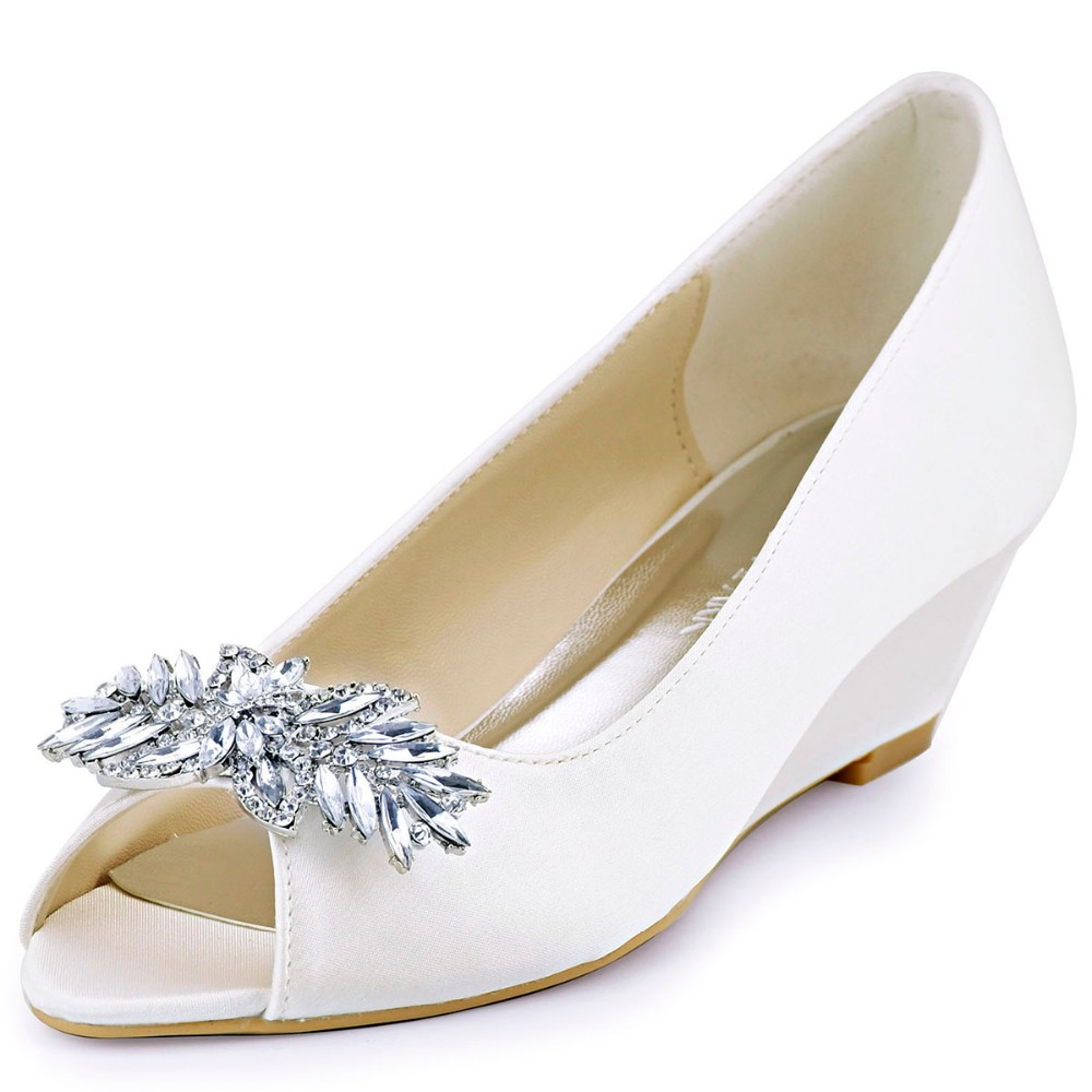 5b2d32695da0 WP1564 Women Wedges Peep Toe Mid Heels Ivory Size 37 Rhinestones Prom Party  Dress Pumps Wedding Bridal Shoes-in Women s Pumps from Shoes on  Aliexpress.com ...