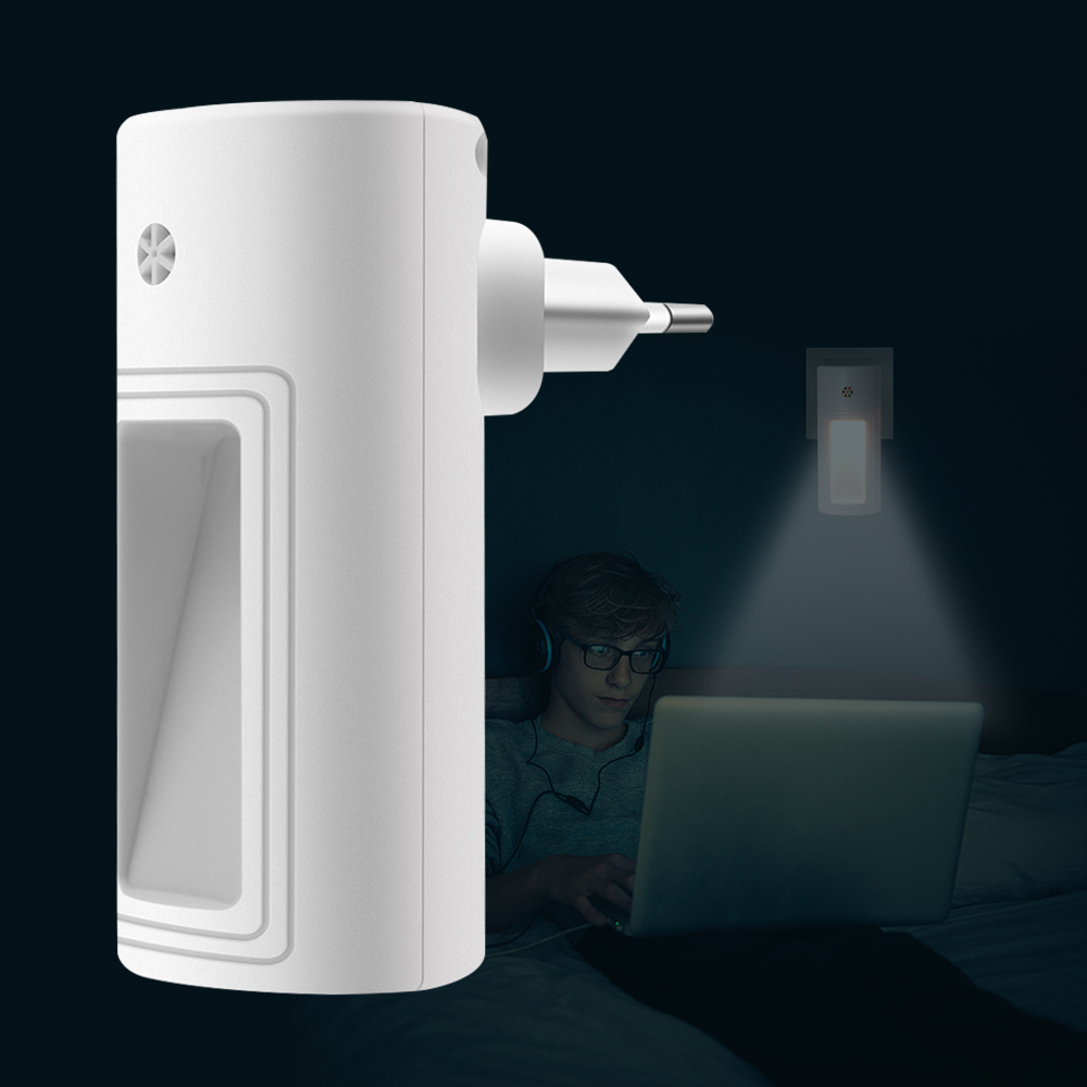 Boruit Light Sensor Control Night Light Eu Us Plug Novelty Square Bedroom Lamp Ac 100-240v Bedside Lamp 2835 Smd Led Stair Light Led Lamps