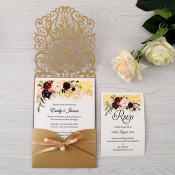50pcs Gold New Arrival Horizontal Laser Cut Wedding Invitations with RSVP card,pearl ribbon,CW25001B,Customizable