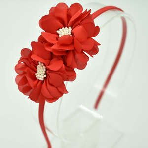 New Children's double flower heart hoop girl personality solid color headdress hair accessories