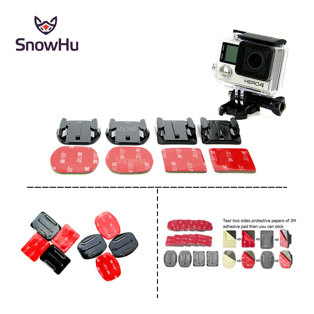 SnowHu for 8Pcs Flat Curved Adhesive Mount Helmet Accessories for Gopro Hero 8 7 6 5 4 3 Xiaomiyi sj4000 sj5000 Kit GP10
