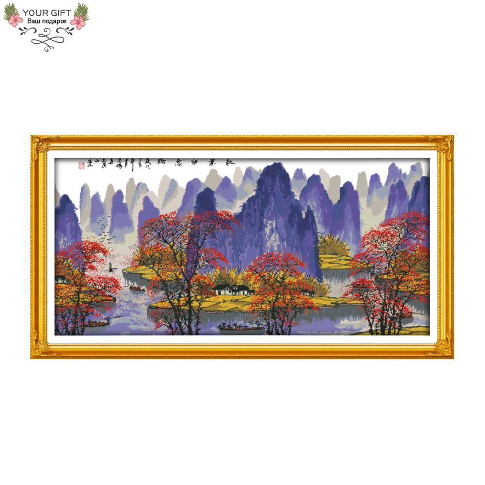 Your Gift F616 14CT 11CT Counted and Stamped Home Decor The Autumn Leaves And Li River Embroidery Cross Stitch Kits