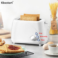 Kbxstart 220V Home Automatic Toaster Fast Heating Bread Breakfast Spit Driver Mini Stainless Steel Toaster 2 Slices