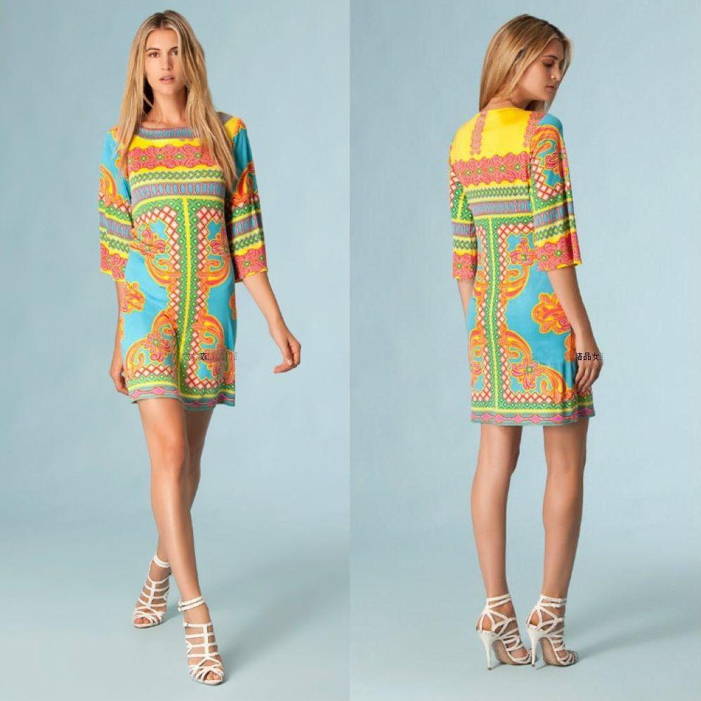 여자의 새로운 기하학 인쇄 절반 슬리브 스트레치 뜨개질 실크 저지 슬림 드레스-에서드레스부터 여성 의류 의  그룹 1