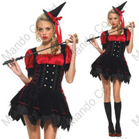 Cute Women Girls Sexy Witch Cosplay Red Dress Hat Halloween Party Costume Outfit