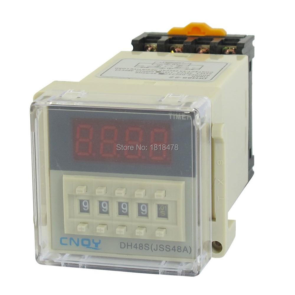 DH48S-2Z Power on Time Delay Relay 8-Pin DPDT 0.01S-9999H AC 220V w Socket 48*48mm panel mounted dpdt 8p 10min 0 10m timing time relay ac 220v w led indicator
