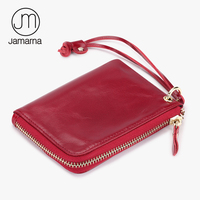Jamarna Genuine Leather Coin Purse Fashion Card Coin Holder Wristlet Wemen Wallet Oil Wax Leather Mini