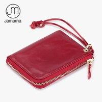 Jamarna Genuine Leather Coin Purse Fashion Card Coin Holder Wristlet Wemen Wallet Oil Wax Leather Mini