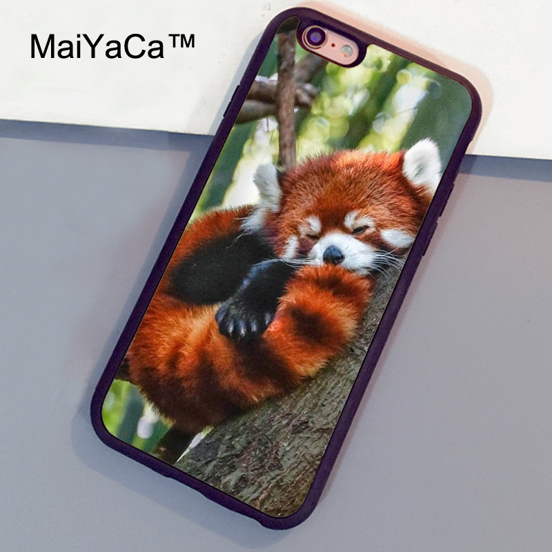 MaiYaCa beautiful red panda sleeping Phone Cases For iphone 6 plus Fundas For iphone 6s plus Full Protect Rubber TPU Back Covers