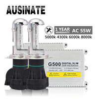 One set H4 xenon kit G500 55w H4 hi/lo beam Slim HID ballast xenon kit 4300K 5000K 6000K 8000K bulb for car headlight