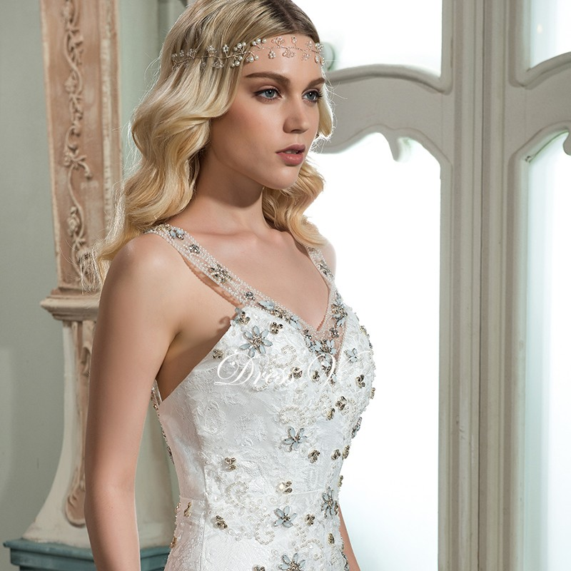80c91b7d94 Dressv aplikacje elegancki v neck suknia ślubna mermaid podłogi długość  rękawy cap bridal na zewnątrz i kościół suknie ślubne trumpetUSD  161.41 piece