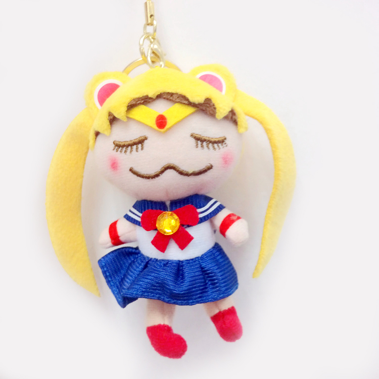 Sailor Moon Crystal Tsukino Usagi Plush Doll Keychains Key Ring Chains Charms Pendant Stuffed Toys Girls Kids Children Gift 10cm