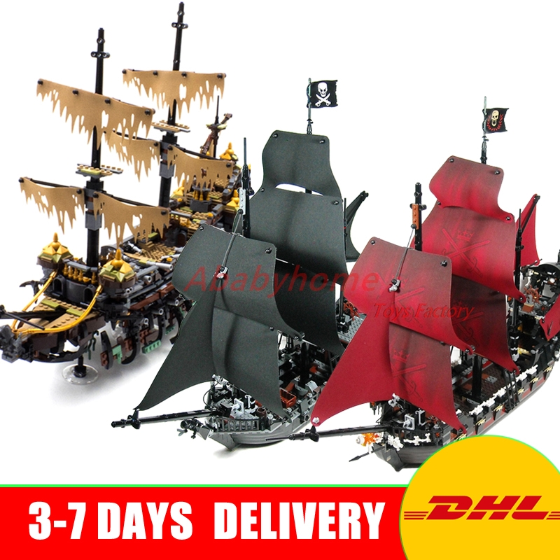 LEPIN 16042 Pirate of The CaribbeanThe Slient Mary Set+16006 The Black Pearl +16009 Queen Annes Reveage Building Kit Blocks