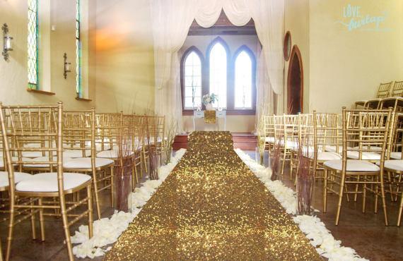 Gold Sequin Wedding Aisle Runner 4x15FT Carpert Aisles