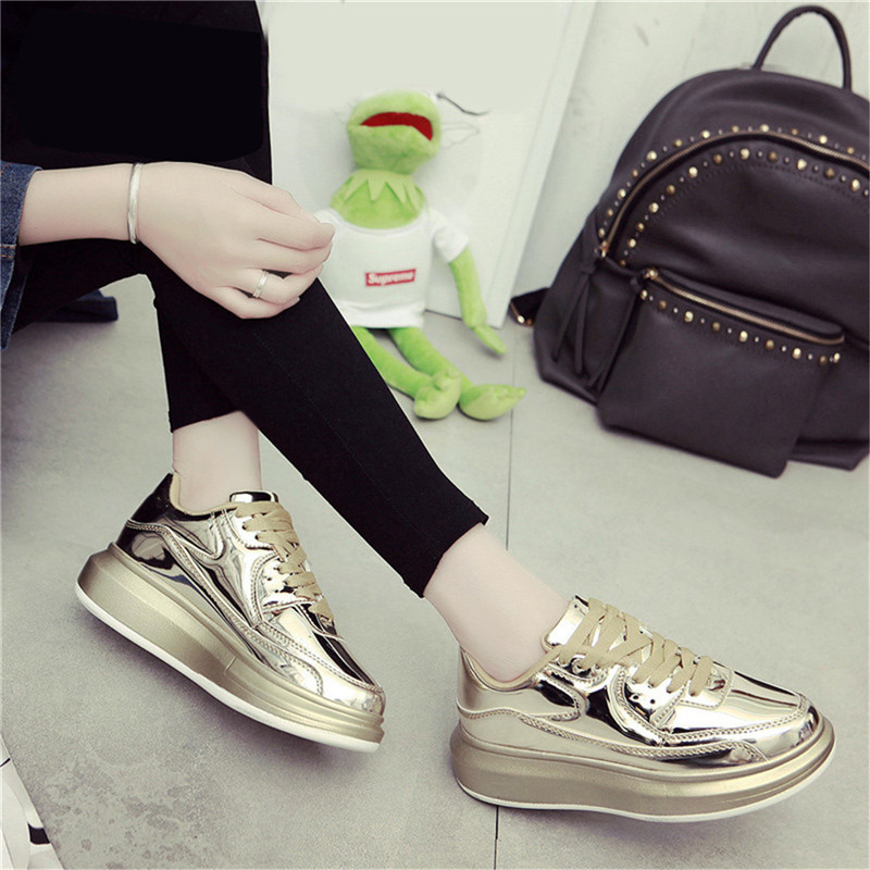 Height Increasing 4.5cm Summer Sneakers Women Silver Gold Reflective Running Shoes Outdoor Sport Shoes for Woman Walking Shoes