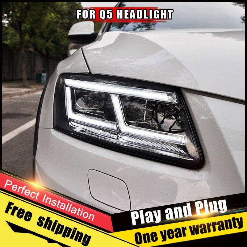 2PCS Car Style LED headlights fo Audi Q5 2009 2018 for Q5 head lamp LED DRL Lens Double Beam H7 HID Xenon bi xenon lens