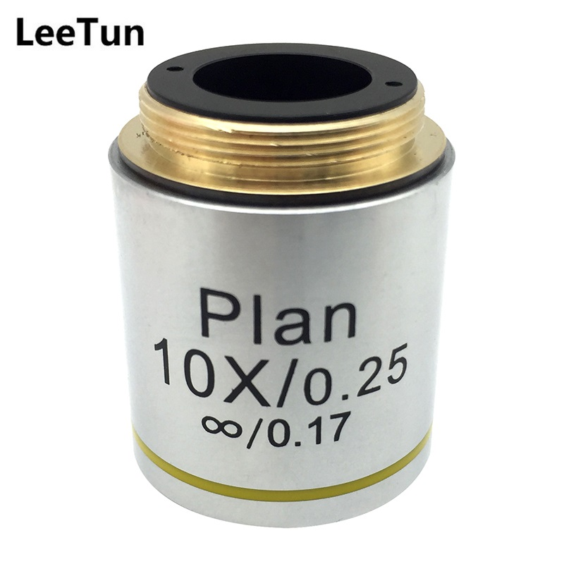 LeeTun 10X Optical Infinity Plan Objective Lens for Professional Biological Microscope DIN 45 mm RMS Mounting Thread leetun a 4x 0 10 achromatic infinity objective lens for biological microscope zeiss olympus infinity microscope