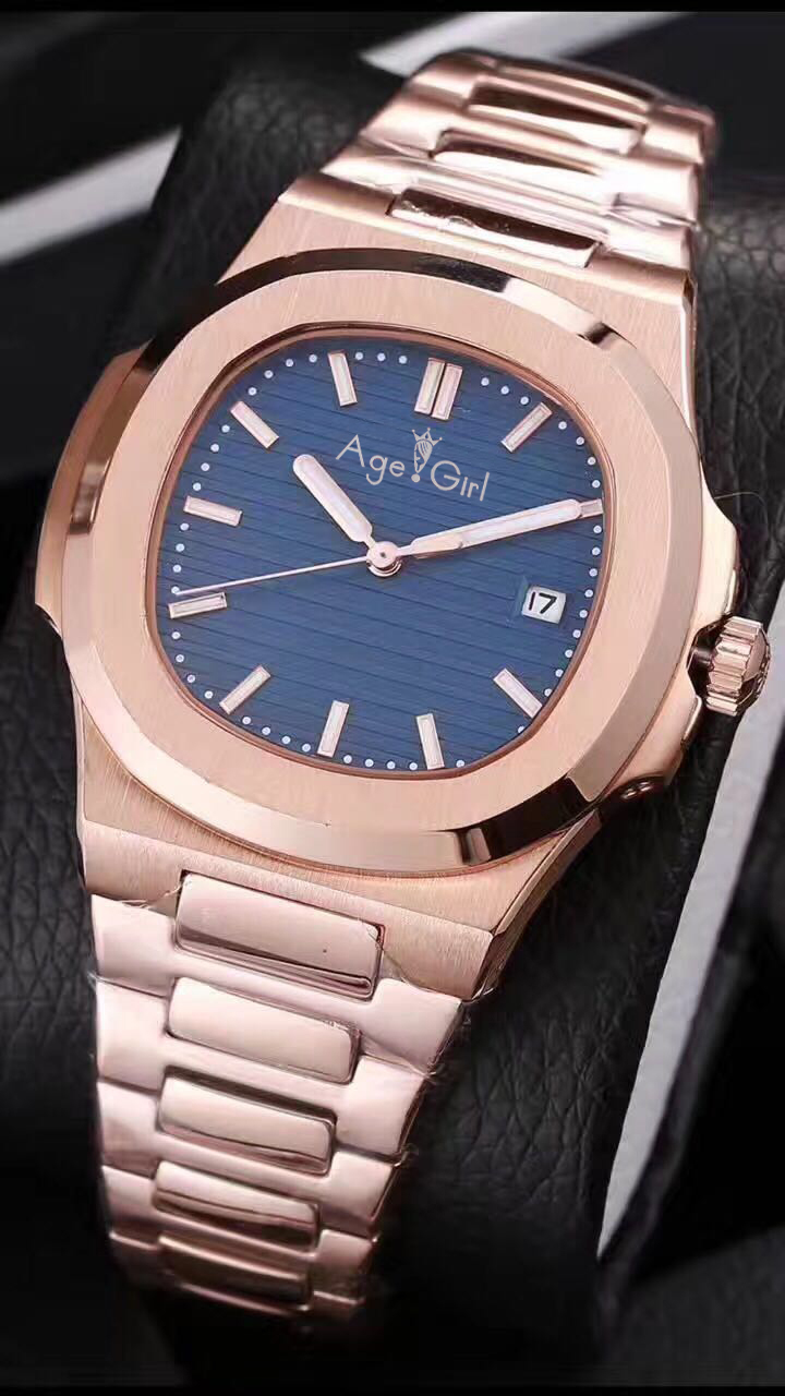 Automatic Mechanical Mens Watch Rose Gold Sapphire Stainless Steel Transparent Glass Back Silver Black Blue