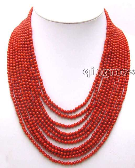 """SALE Luxury Beautiful 10 Strands 4 MM Red Round High Quality Coral 18-23"""" long NECKLACE-nec5777 Wholesale/retail Free shipping"""