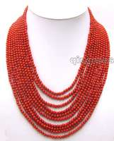 SALE Luxury Beautiful 10 Strands 4 MM Red Round High Quality Coral 18 23 Long NECKLACE