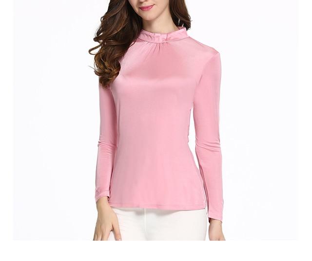 Mulher primavera plus size gola Babados Completos 96% de seda fino T-shirt feminina outono hedging trecho de seda encabeça senhora de seda t-shirt