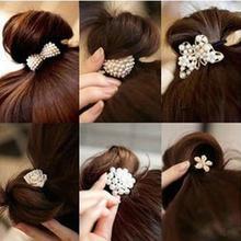 2017 New Korean Star Pearl Women Hair Bands Crystal Rhinestone Flower Ponytail Holder Hair Rope