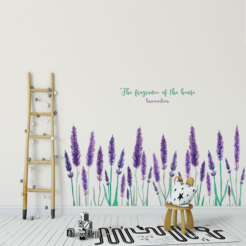 Purple Lavender Wall Sticker Living Room Background Home Decoration Art Decals Romantic Flower Stickers Kick Line Mural