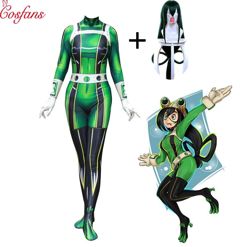 My Hero Academia Froppy Tsuyu Asui Cosplay Costume Spandex Zentai Suit Women Girls Bodysuits Halloween Adults costume and wigs