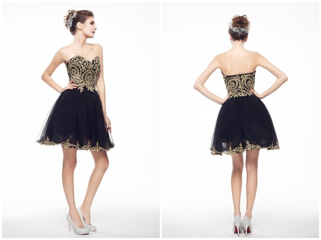 In Stock Black Short Prom Dresses 2015 with Gold Appliqued Beaded ...