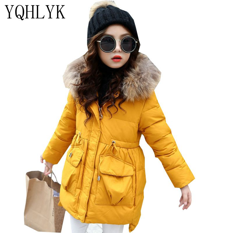 New Fashion Winter Cotton Girls Coat 2017 Korean Children Hooded Zipper Thick Warm Coat Sweet Casual Kids Clothes 4-13Y W50 tnlnzhyn winter new women clothing warm cotton coat fashion large size thicken long sleeve casual female cotton outerwear qq260