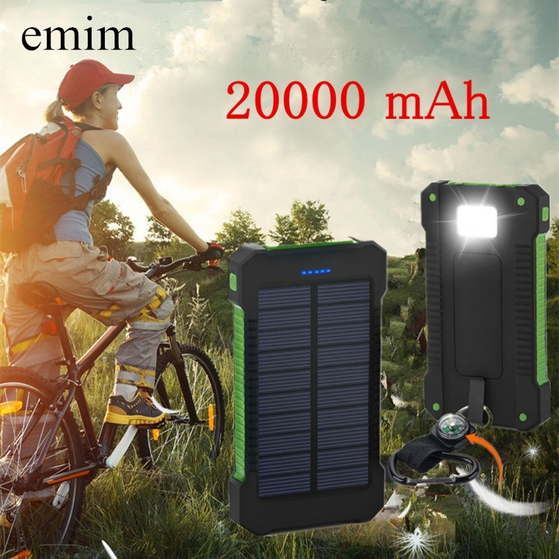 Waterproof Solar Power Bank 20000mah Dual-USB Battery externa quick charge powerbank for all Phone Universa Batteries