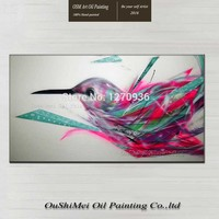 Top Artist High Skill Hand painted Modern Colorful Bird Fly in the Sky Oil Painting on Canvas Realistic Impression Animal Art