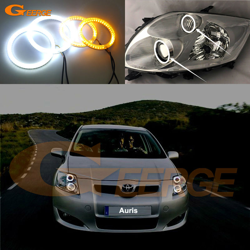 все цены на  For Toyota Auris 2007 2008 2009 Europe Excellent Ultra bright Dual Color Switchback smd LED Angel Eyes Halo Rings kit  онлайн
