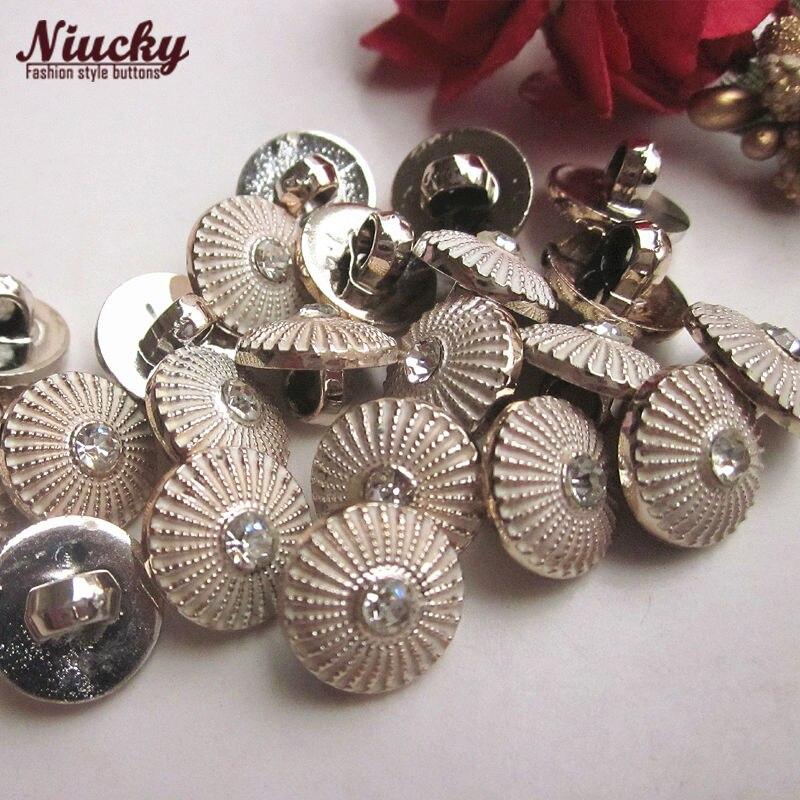 Niucky 11.4mm 7/16 Shank UV gold rhinestone umbrella shirt buttons for sewing craft headdress decorative accessories P0301d-025