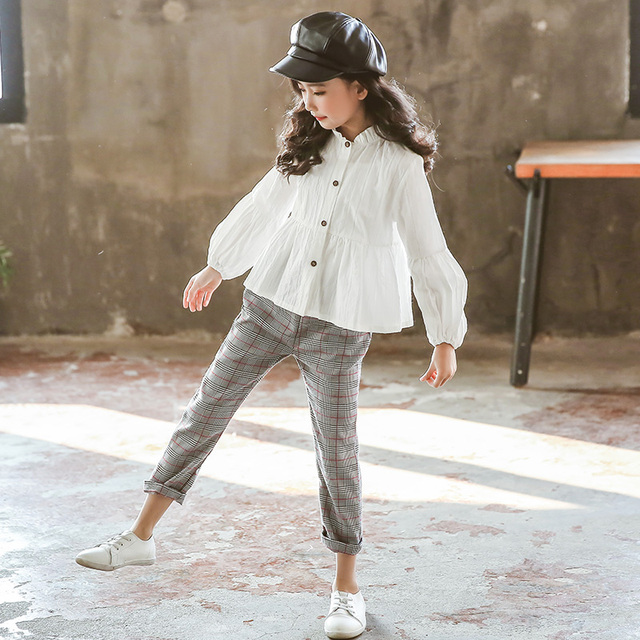 Girls Clothing Sets Suit For Girls Outfits Tops Blouse + Pants Stylish Gentle Teenager Girl Clothes Teen Korean Spring Fashion 3