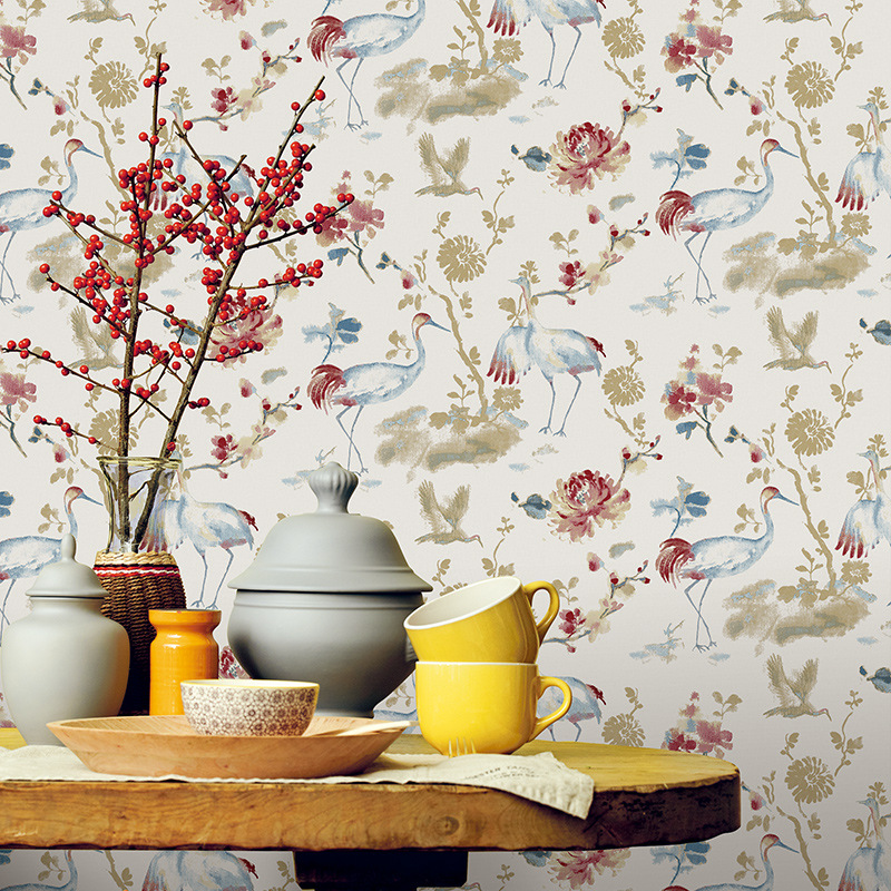 beibehang Chinese Pastoral Style Nonwovens Wallpaper Study Living Room TV Background Wall Flower Birds Wallpaper