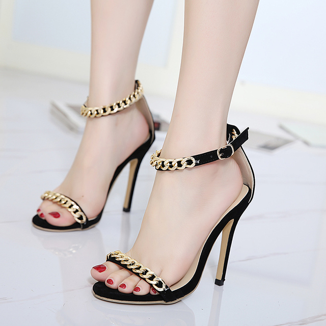 Teahoo 2018 Summer Gold Chain Open Toe Thin High Heels Women Sandals Fashion  Lace Up Pumps 8ab963d3232c