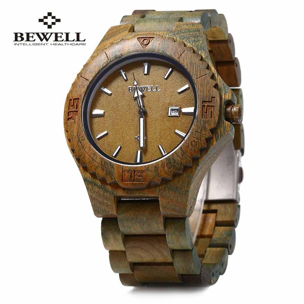 Reloj de cuarzo de madera Bewell para hombre calendario luminosos punteros relojes de vestir impermeables reloj de sándalo