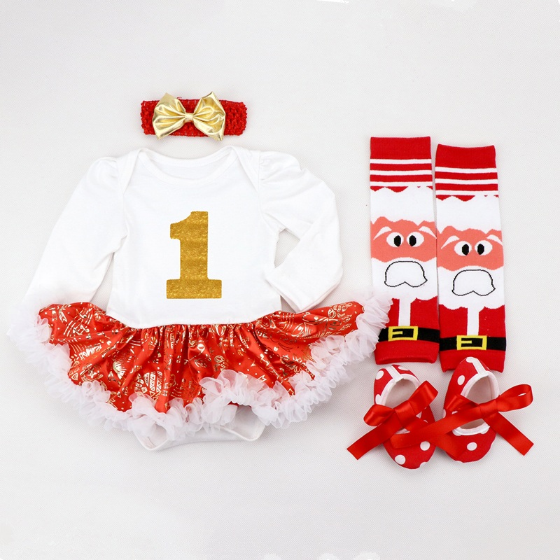 Image 5 - Infant Clothing Set Girls Cutest Deer Outfits Baby Christmas Boutique Clothes Red Bling bling Tutu Dress 4pcs set With Headband-in Dresses from Mother & Kids
