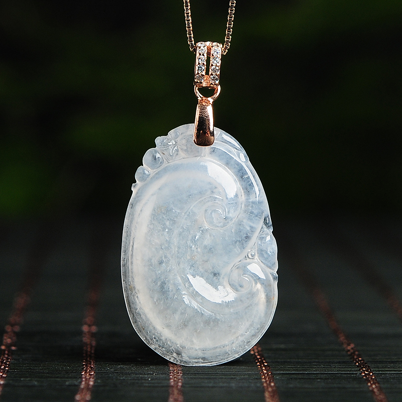 Natural ice species light green jade wishful pendants Genuine jade pendant pendant A goods female models delivery certificateNatural ice species light green jade wishful pendants Genuine jade pendant pendant A goods female models delivery certificate