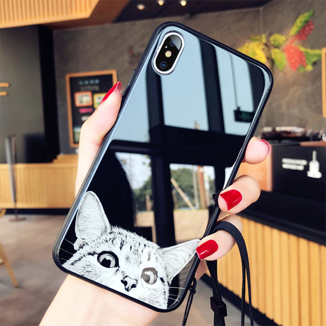 online store 6f3c7 e5cb2 US $3.89 30% OFF|Fashion Tempered Glass Case For iphone XS MAX XR X 8 7 6  6s plus Cute Cat Cases For iphone XS MAX XR Phone Cover With Lanyard-in ...