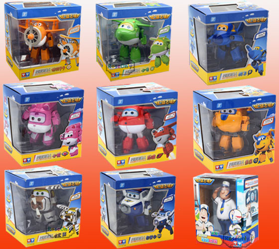 12-15 cm Big Size Super Wings Jett Donnie Dizzy Jerome Jimbo Paul 9 style Deformation Toys Brinquedos birthday goft for children manguera expandible